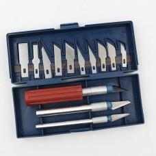 Набор макетных ножей со сменными лезвиями, 3 ножа + 13 разных лезвий