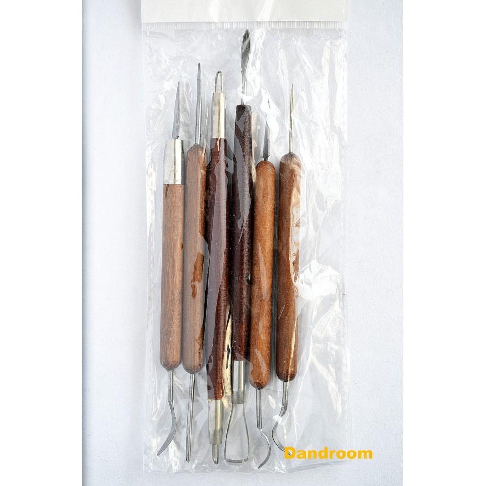 Набор стеков металлических, двухсторонних, 6 шт., деревянная ручка