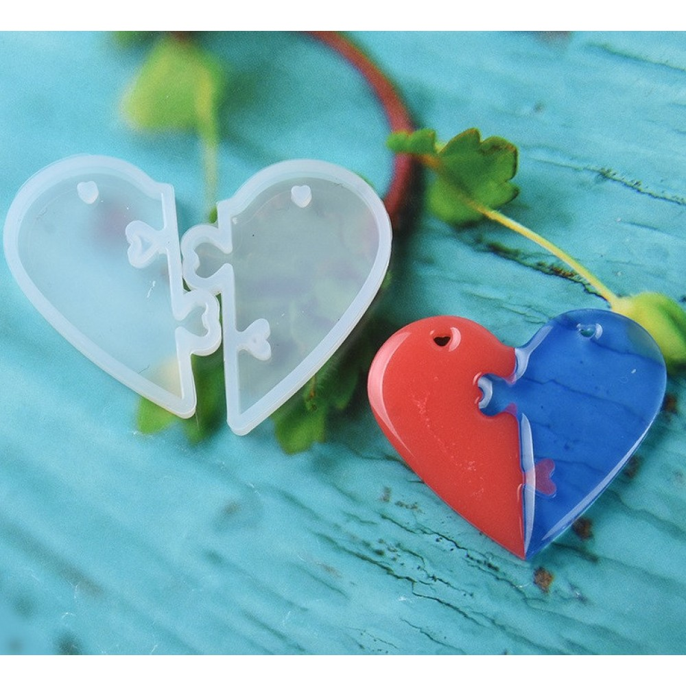 Силиконовый молд, форма, Две половинки сердца