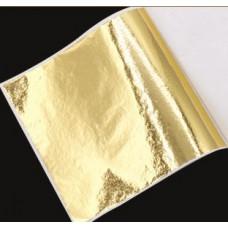 Поталь цветная в листах (фольга для декорирования), Золото, 8*8,5 см, 50 листов