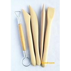 Набор деревянных инструментов для лепки, двухсторонние стеки и петля, 5 штук