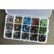 Глазки для игрушек винтовые, d 6-12 мм, набор 150 шт.
