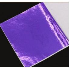 Поталь цветная в листах (фольга для декорирования), Фиолетовая, 8 на 8,5 см, 50 листов