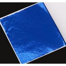 Поталь цветная в листах (фольга для декорирования), Синяя, 8 на 8,5 см, 50 листов