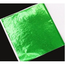 Поталь цветная в листах (фольга для декорирования), Зеленая, 8 на 8,5 см, 50 листов