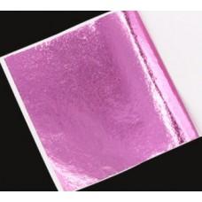 Поталь цветная в листах (фольга для декорирования), Розовая, 8 на 8,5 см, 50 листов